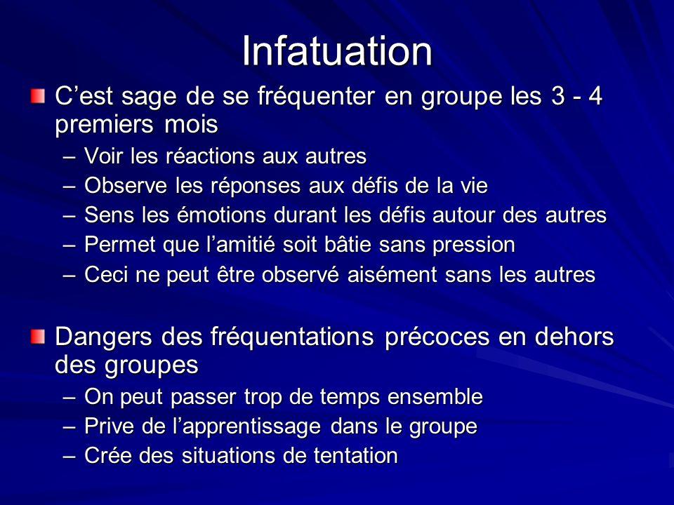 Infatuation C'est sage de se fréquenter en groupe les 3 - 4 premiers mois. Voir les réactions aux autres.
