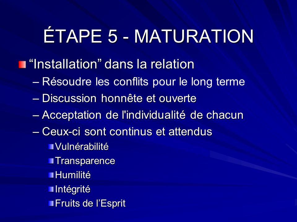 ÉTAPE 5 - MATURATION Installation dans la relation