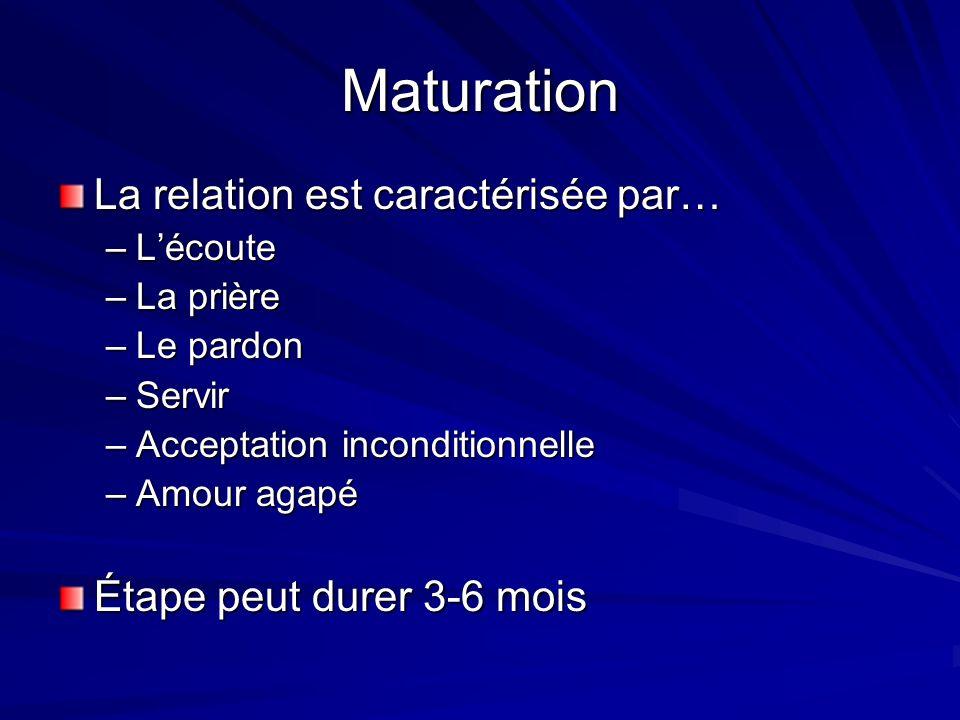 Maturation La relation est caractérisée par… Étape peut durer 3-6 mois