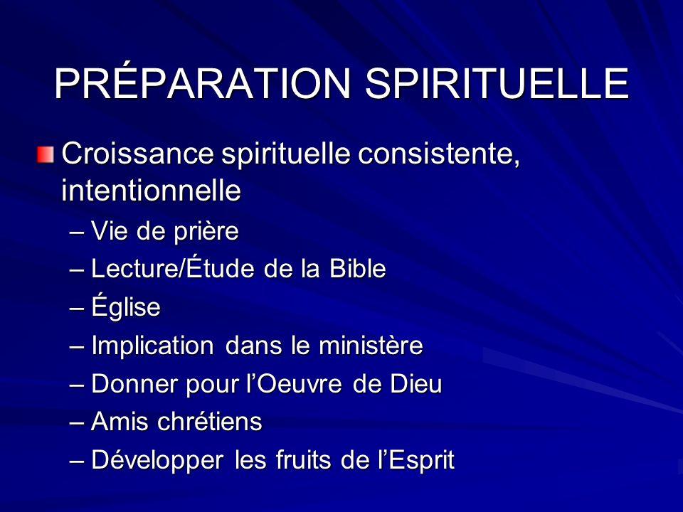 PRÉPARATION SPIRITUELLE