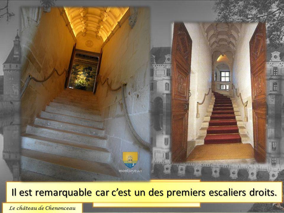 L'escalier. Il est remarquable car c'est un des premiers escaliers droits. Le château de Chenonceau
