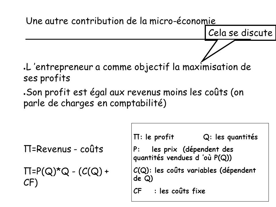 Une autre contribution de la micro-économie
