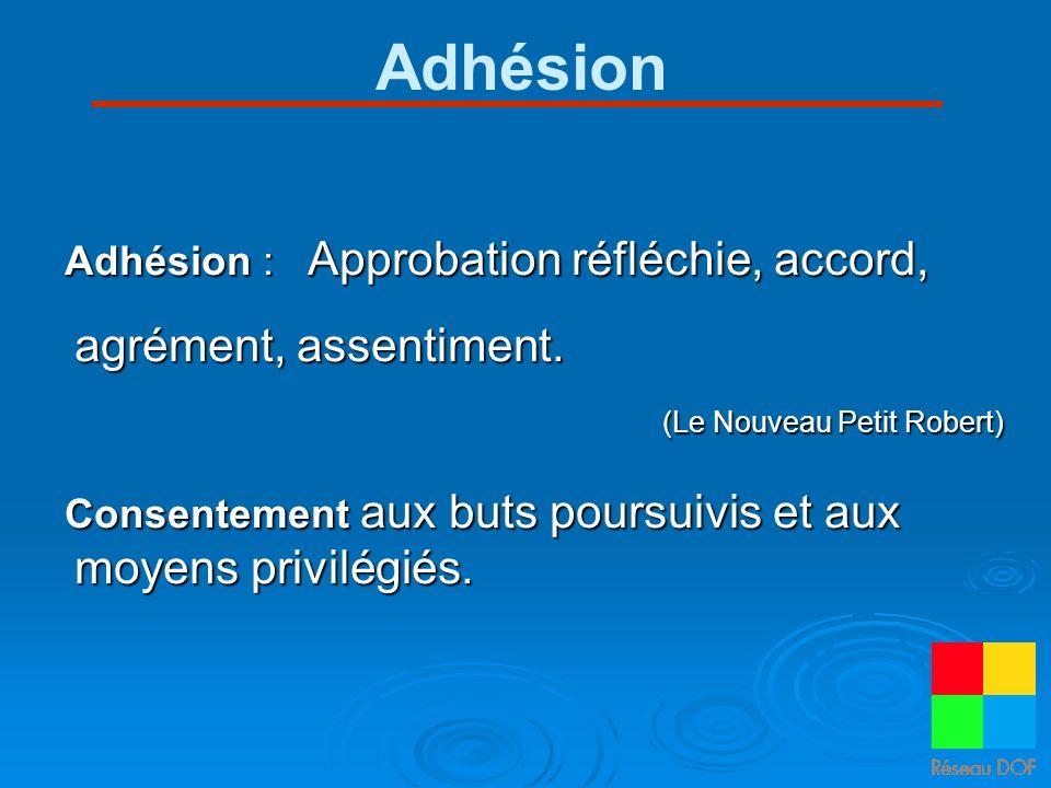 Adhésion Adhésion : Approbation réfléchie, accord, agrément, assentiment. (Le Nouveau Petit Robert)
