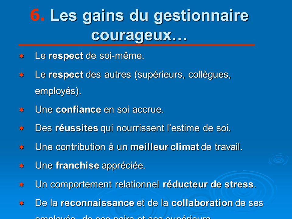 6. Les gains du gestionnaire courageux…