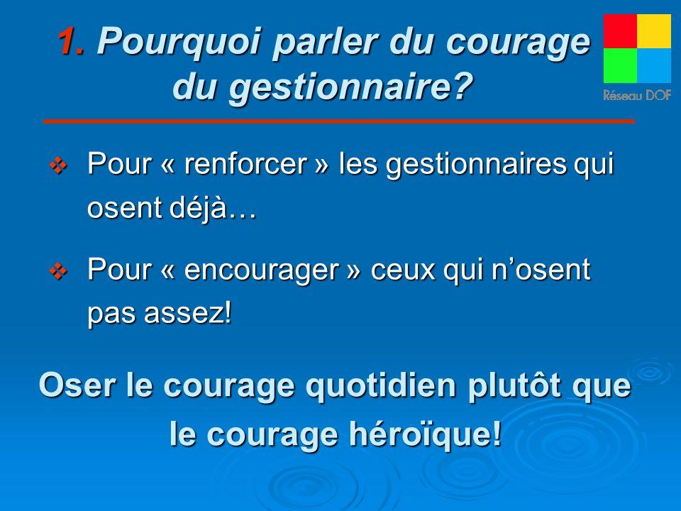 1. Pourquoi parler du courage du gestionnaire