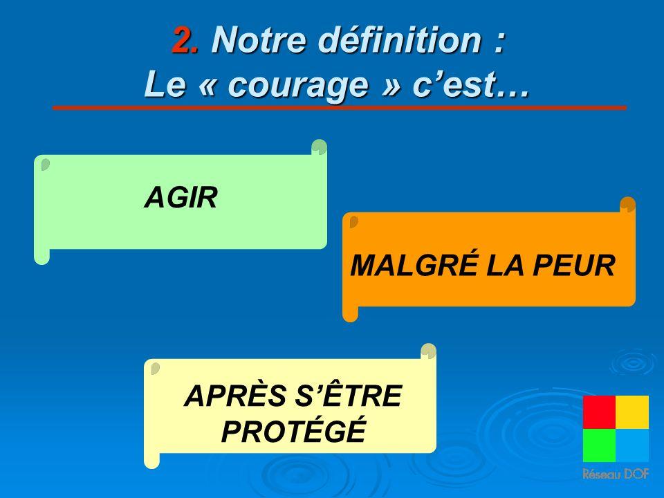 2. Notre définition : Le « courage » c'est…