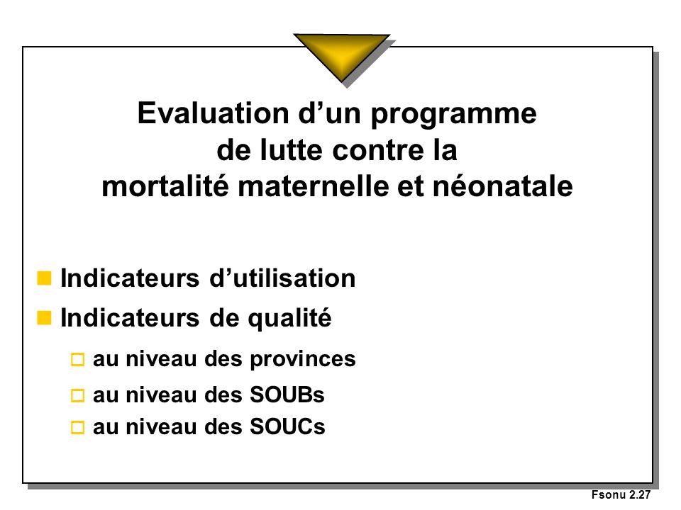 Fsonu 2.27 Evaluation d'un programme de lutte contre la mortalité maternelle et néonatale. Indicateurs d'utilisation.