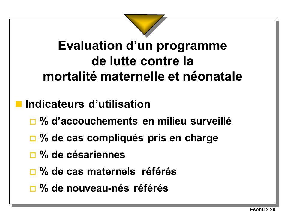 Fsonu 2.28 Evaluation d'un programme de lutte contre la mortalité maternelle et néonatale. Indicateurs d'utilisation.