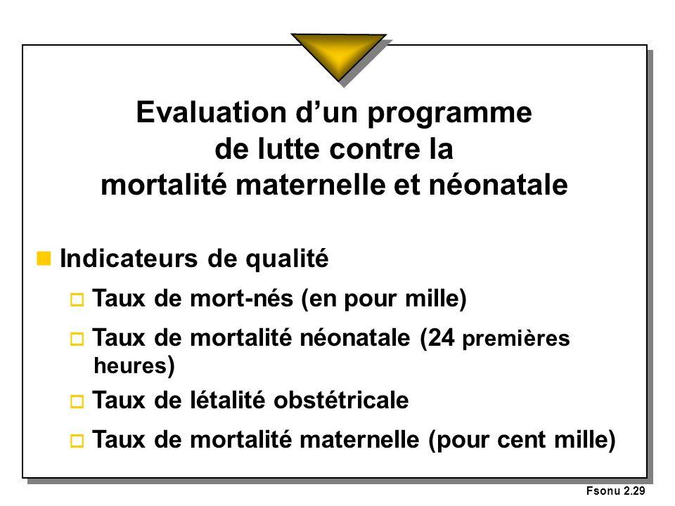 Fsonu 2.29 Evaluation d'un programme de lutte contre la mortalité maternelle et néonatale. Indicateurs de qualité.