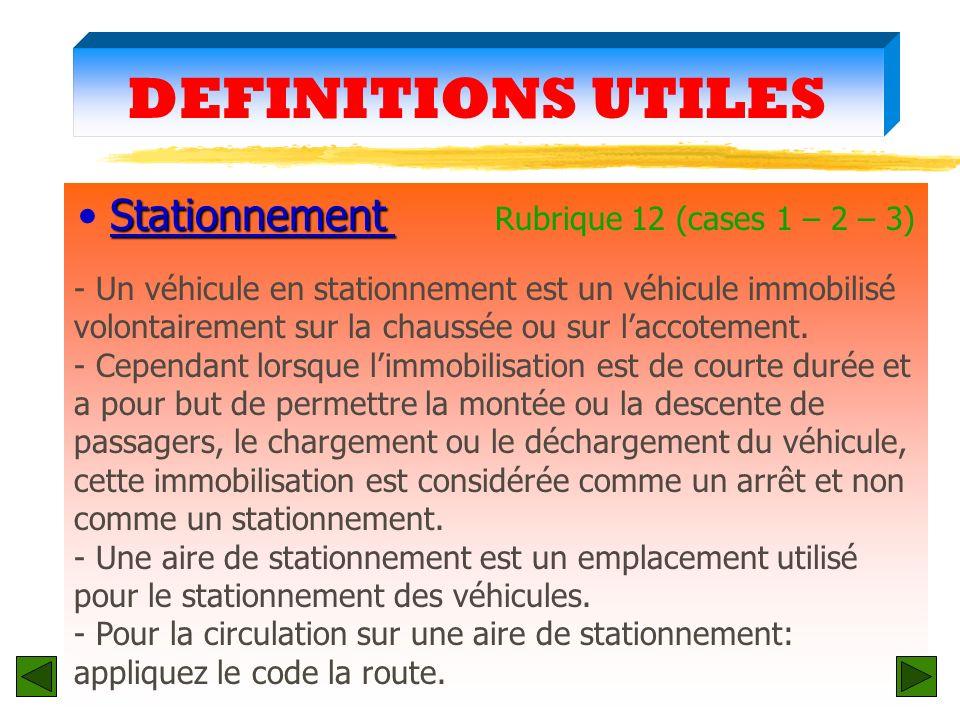 Stationnement Rubrique 12 (cases 1 – 2 – 3)