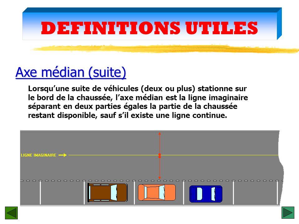DEFINITIONS UTILES Axe médian (suite)