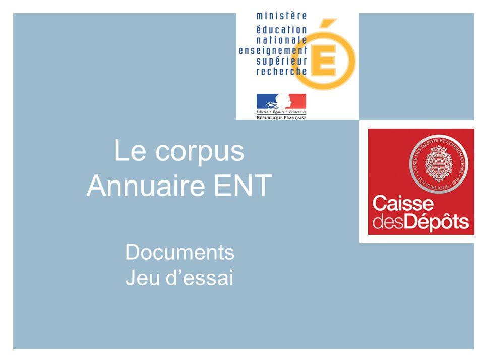 Le corpus Annuaire ENT Documents Jeu d'essai
