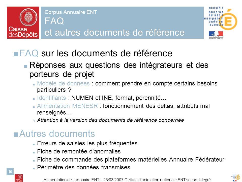 Corpus Annuaire ENT FAQ et autres documents de référence