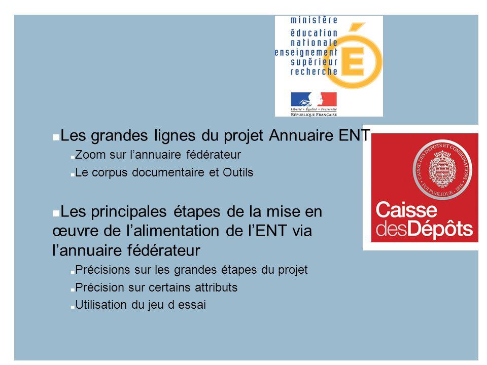 Les grandes lignes du projet Annuaire ENT