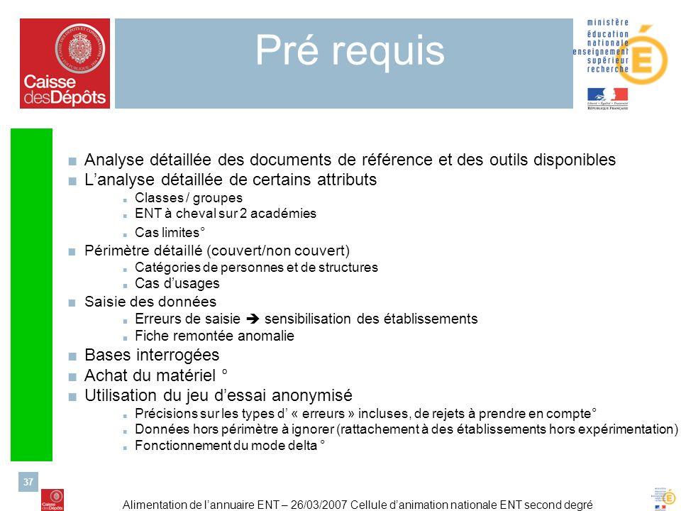 Pré requis Analyse détaillée des documents de référence et des outils disponibles. L'analyse détaillée de certains attributs.