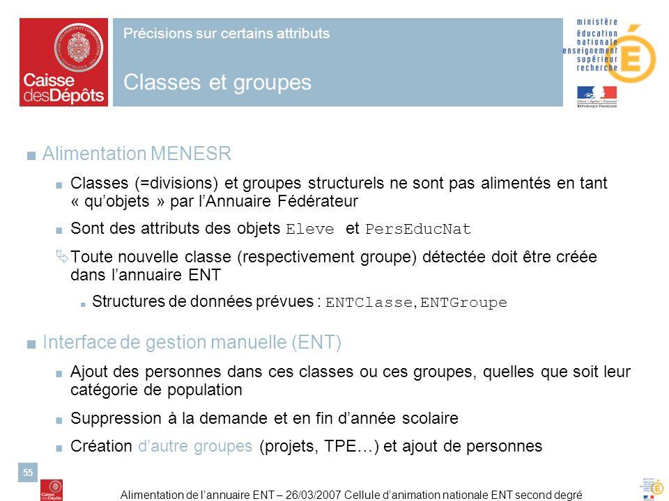 Précisions sur certains attributs Classes et groupes