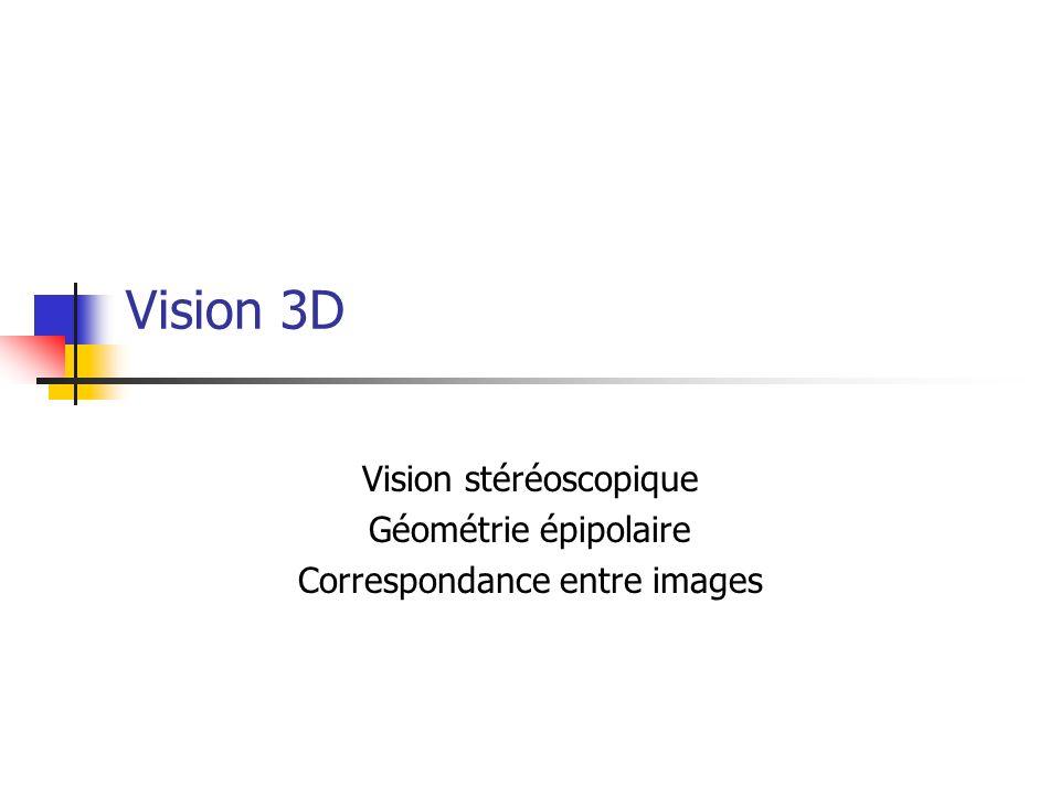 Vision stéréoscopique Géométrie épipolaire Correspondance entre images