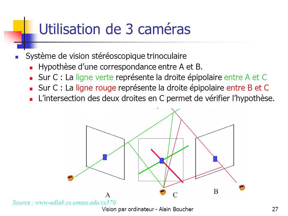 Utilisation de 3 caméras