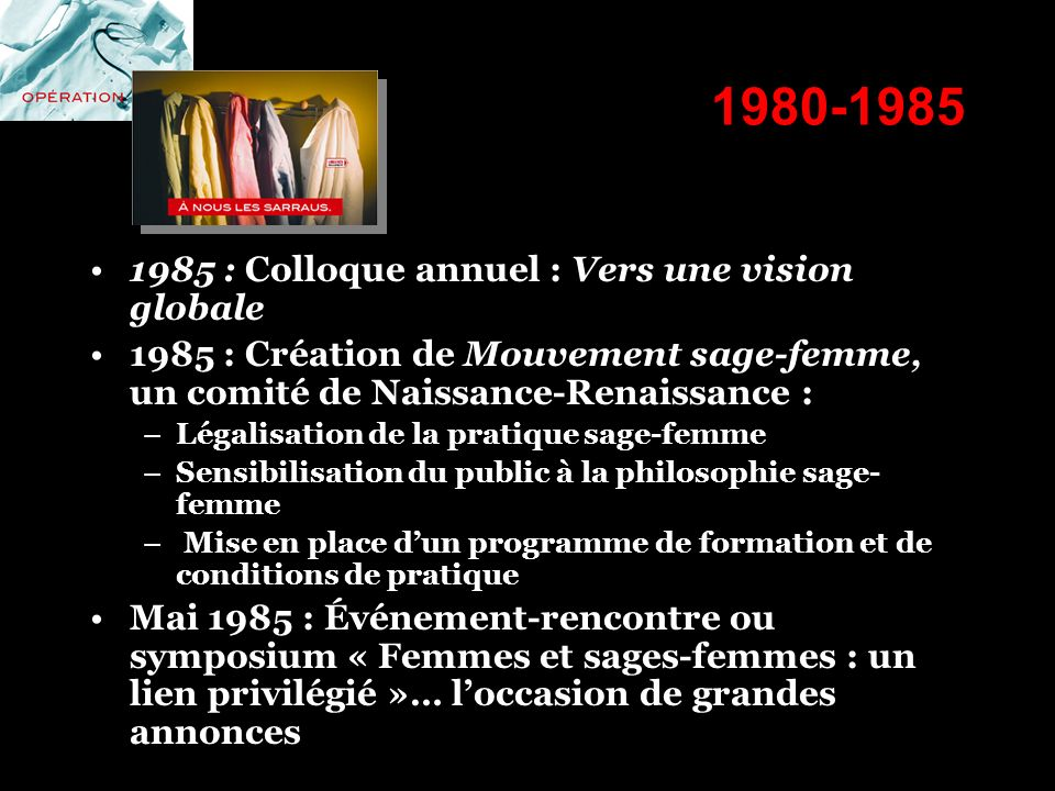 1980-1985 1985 : Colloque annuel : Vers une vision globale