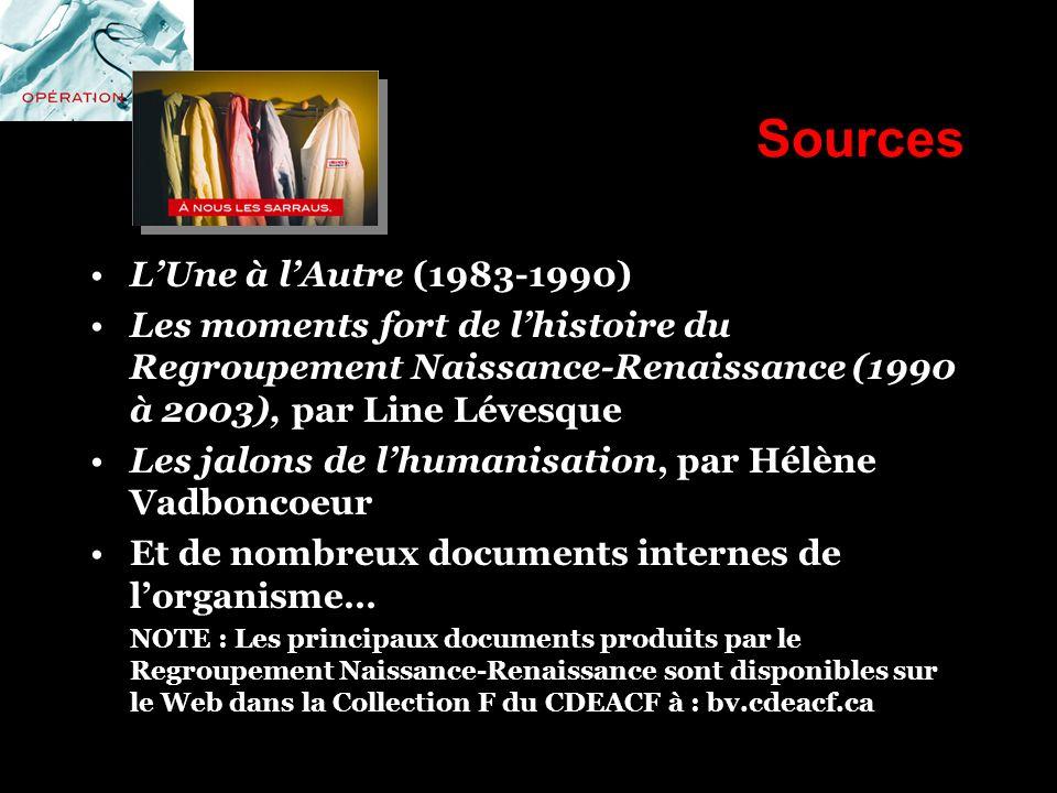 Sources L'Une à l'Autre (1983-1990)