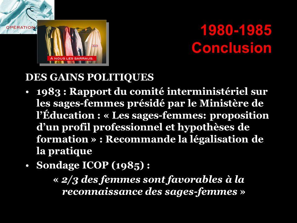 1980-1985 Conclusion DES GAINS POLITIQUES