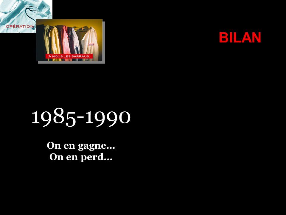 1985-1990 BILAN On en gagne… On en perd…