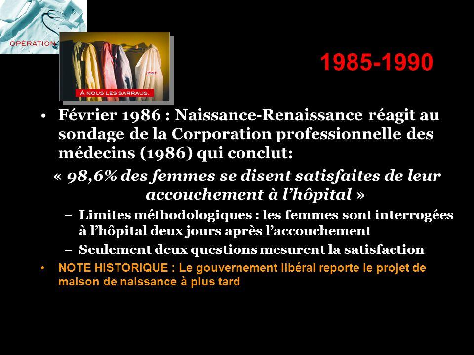 1985-1990 Février 1986 : Naissance-Renaissance réagit au sondage de la Corporation professionnelle des médecins (1986) qui conclut: