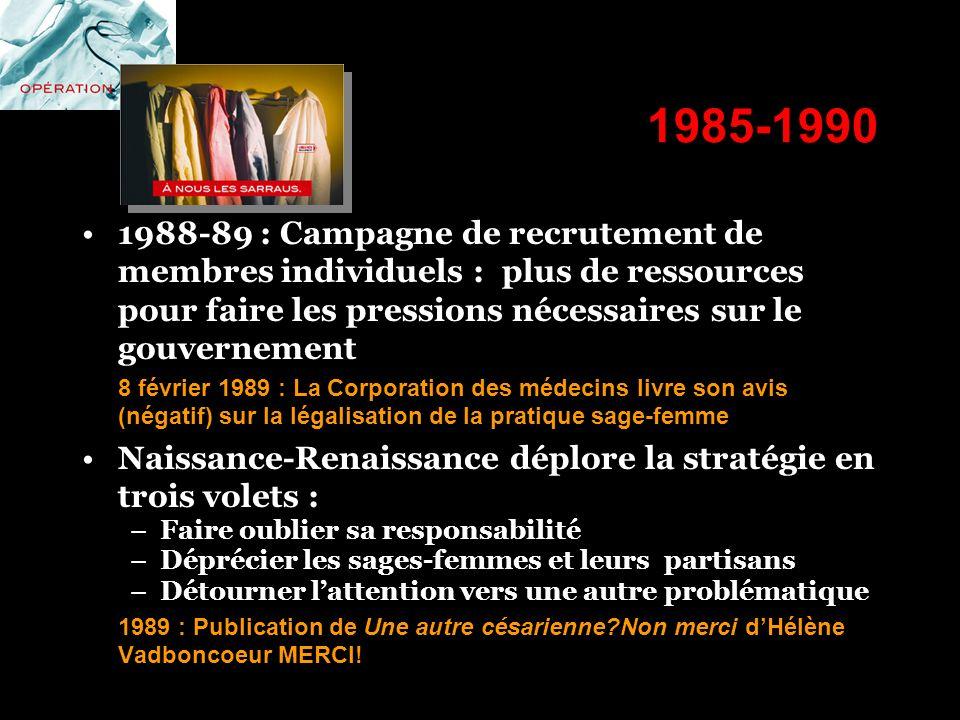 1985-1990 1988-89 : Campagne de recrutement de membres individuels : plus de ressources pour faire les pressions nécessaires sur le gouvernement.