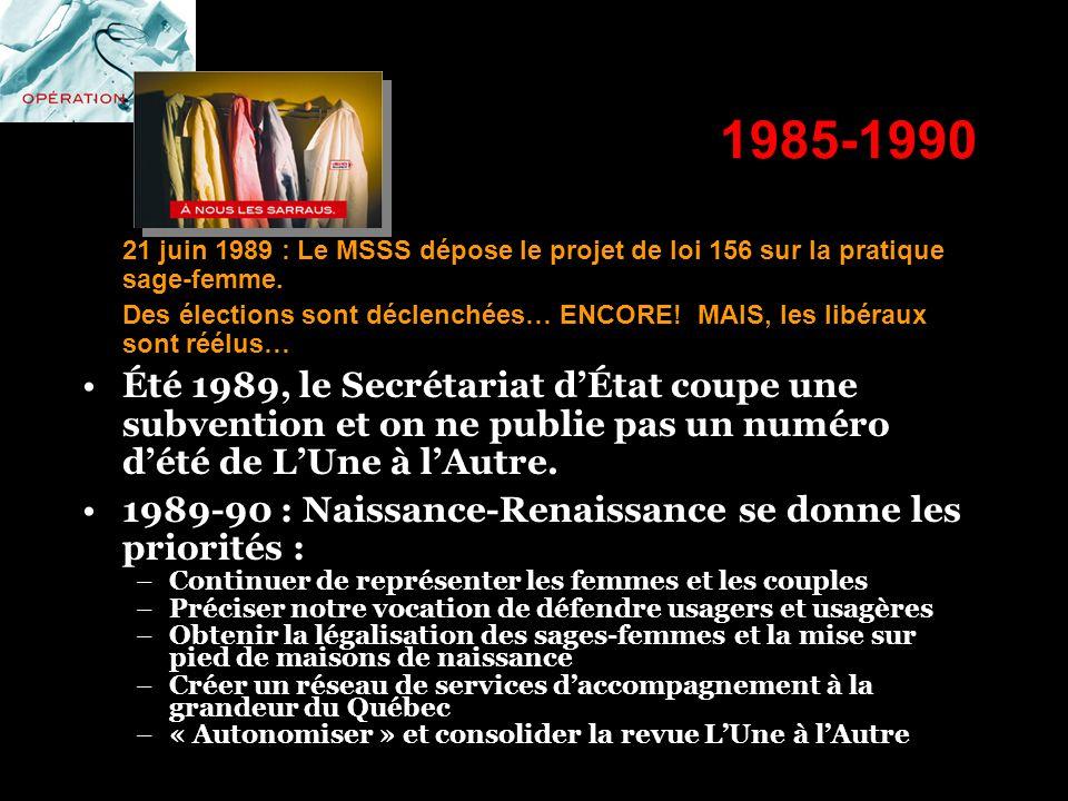 1985-1990 21 juin 1989 : Le MSSS dépose le projet de loi 156 sur la pratique sage-femme.