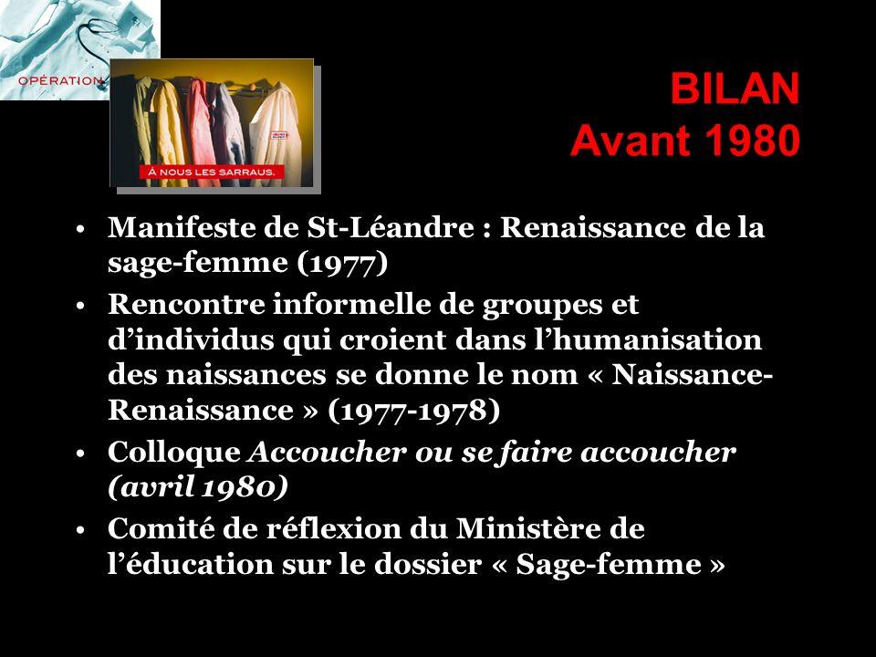 BILAN Avant 1980 Manifeste de St-Léandre : Renaissance de la sage-femme (1977)