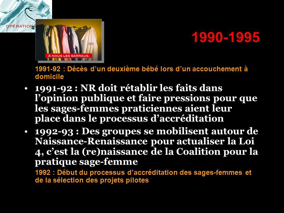 1990-1995 1991-92 : Décès d'un deuxième bébé lors d'un accouchement à domicile.
