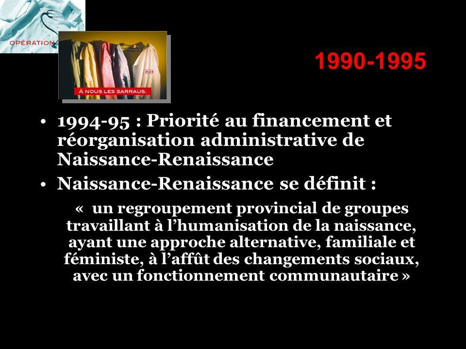1990-1995 1994-95 : Priorité au financement et réorganisation administrative de Naissance-Renaissance.