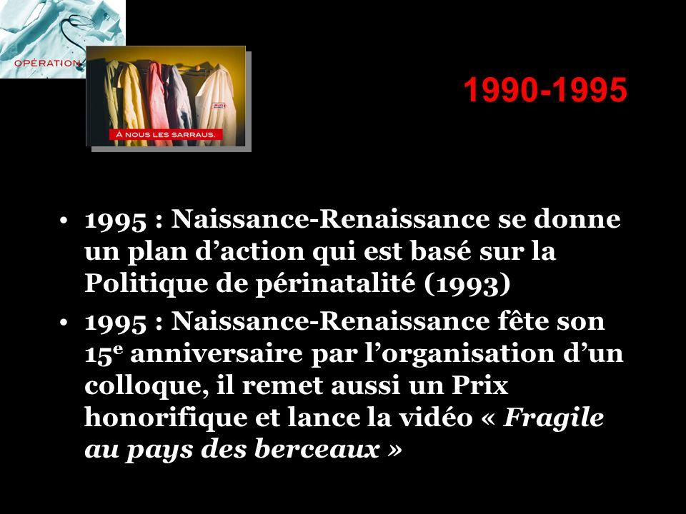 1990-1995 1995 : Naissance-Renaissance se donne un plan d'action qui est basé sur la Politique de périnatalité (1993)