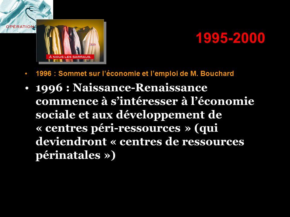 1995-2000 1996 : Sommet sur l'économie et l'emploi de M. Bouchard.