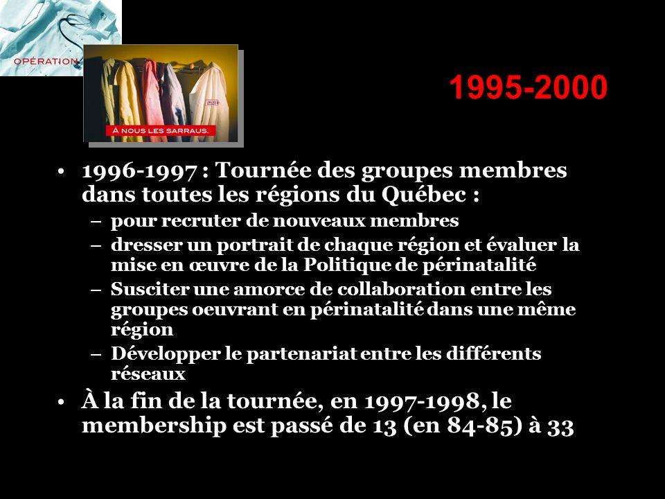 1995-2000 1996-1997 : Tournée des groupes membres dans toutes les régions du Québec : pour recruter de nouveaux membres.