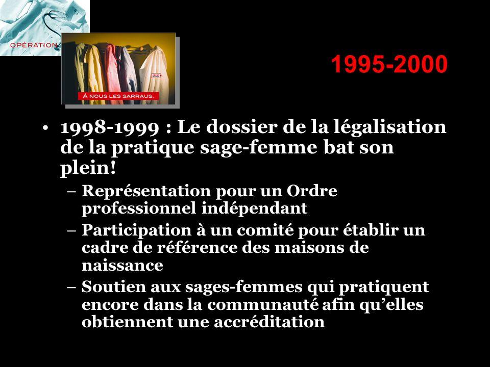 1995-2000 1998-1999 : Le dossier de la légalisation de la pratique sage-femme bat son plein! Représentation pour un Ordre professionnel indépendant.