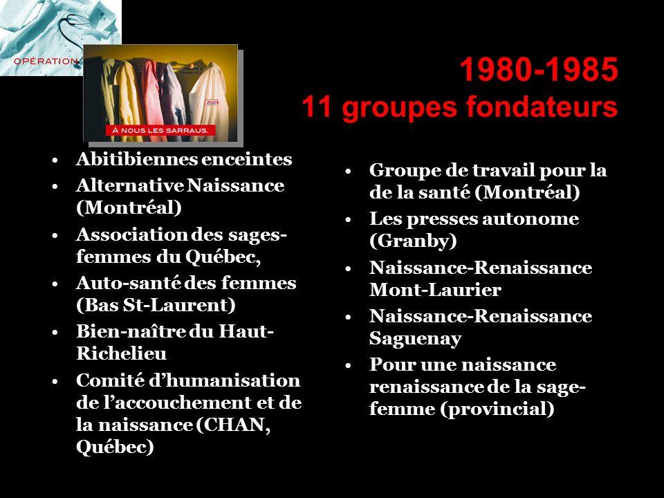 1980-1985 11 groupes fondateurs Abitibiennes enceintes