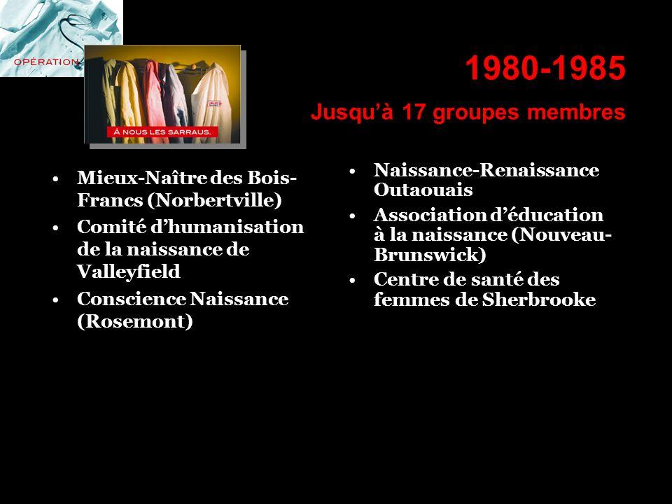 1980-1985 Jusqu'à 17 groupes membres