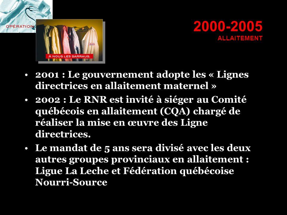2000-2005 ALLAITEMENT 2001 : Le gouvernement adopte les « Lignes directrices en allaitement maternel »