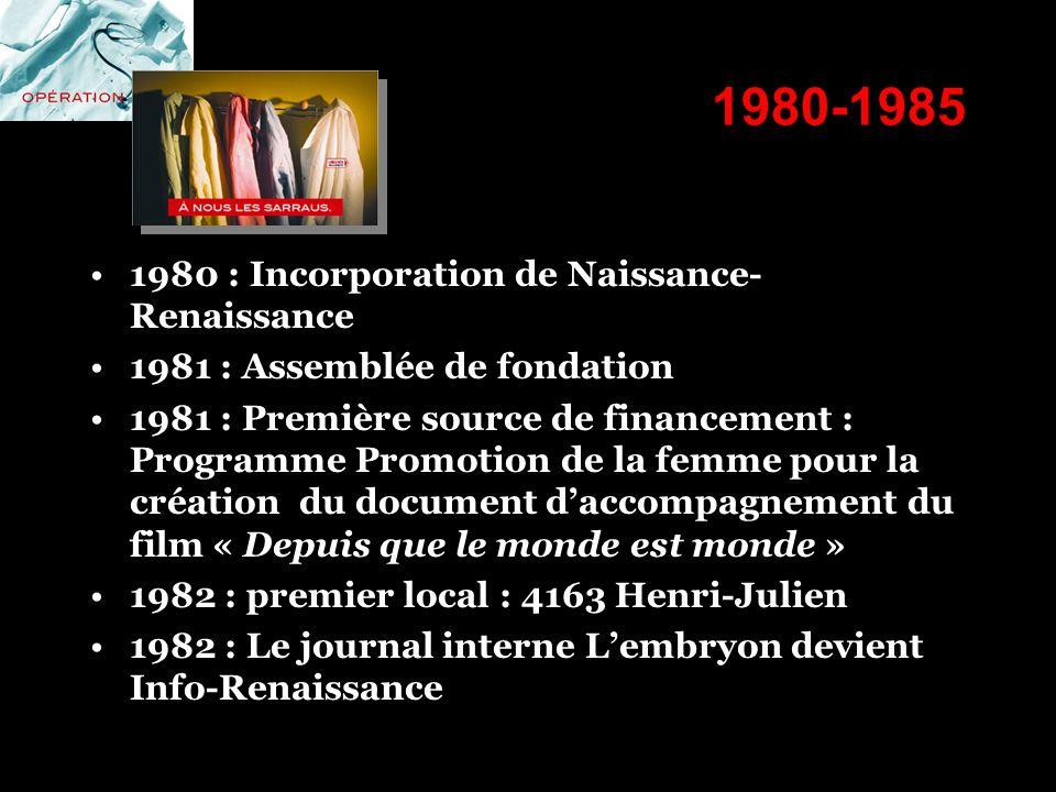 1980-1985 1980 : Incorporation de Naissance-Renaissance