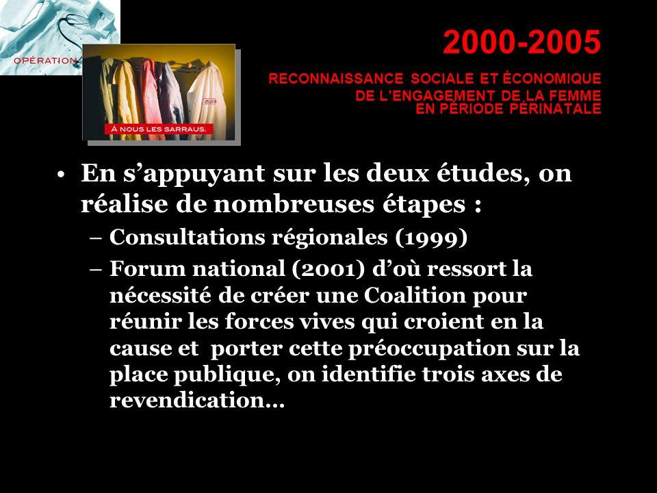 2000-2005 RECONNAISSANCE SOCIALE ET ÉCONOMIQUE DE L'ENGAGEMENT DE LA FEMME EN PÉRIODE PÉRINATALE