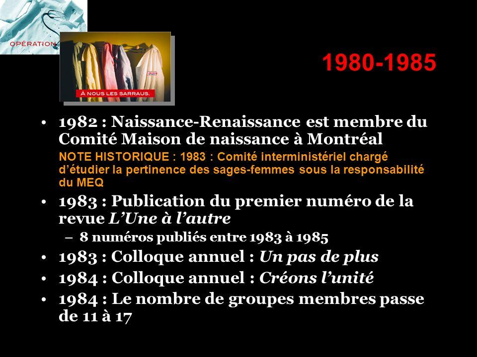1980-1985 1982 : Naissance-Renaissance est membre du Comité Maison de naissance à Montréal.