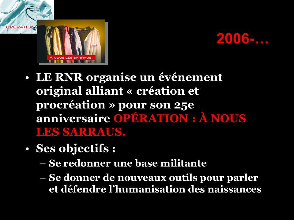 2006-… LE RNR organise un événement original alliant « création et procréation » pour son 25e anniversaire OPÉRATION : À NOUS LES SARRAUS.