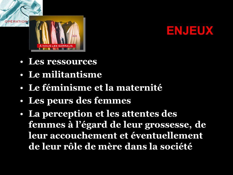 ENJEUX Les ressources Le militantisme Le féminisme et la maternité