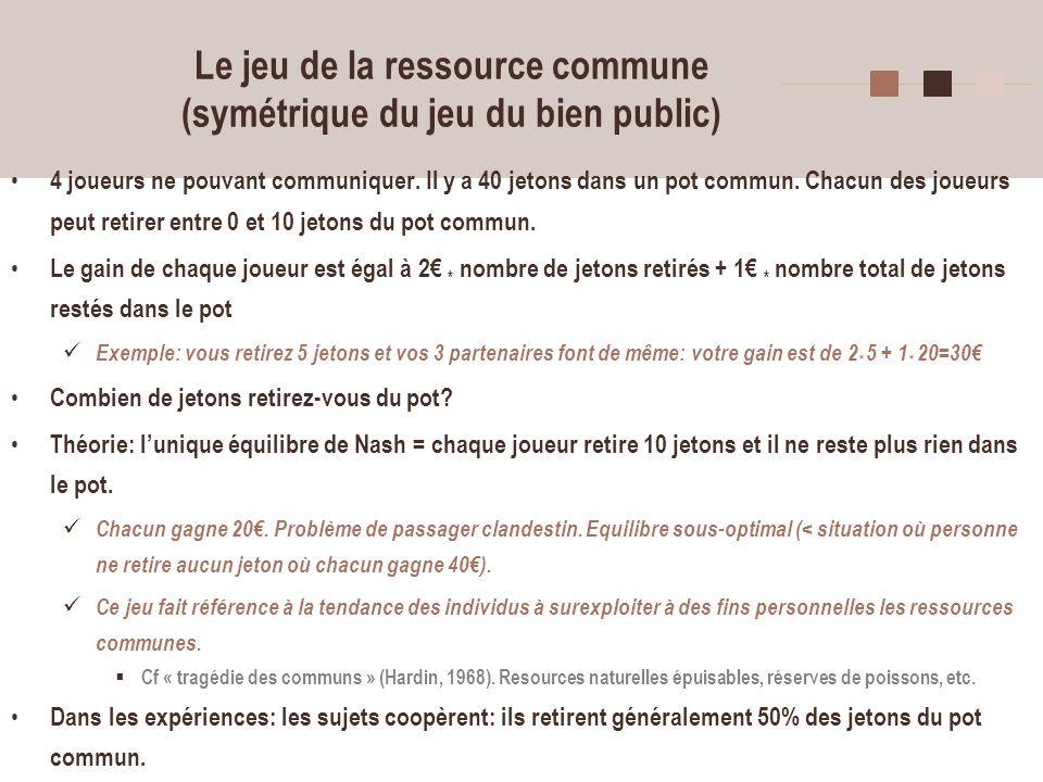 Le jeu de la ressource commune (symétrique du jeu du bien public)