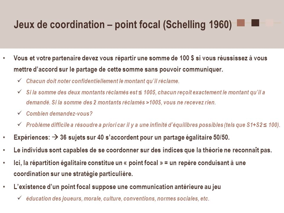 Jeux de coordination – point focal (Schelling 1960)