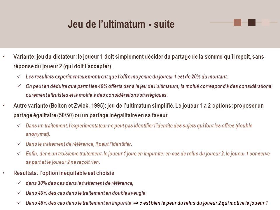 Jeu de l'ultimatum - suite
