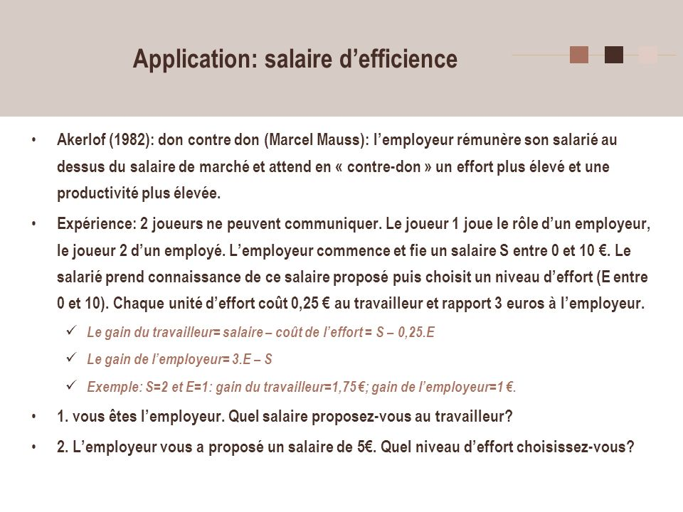 Application: salaire d'efficience