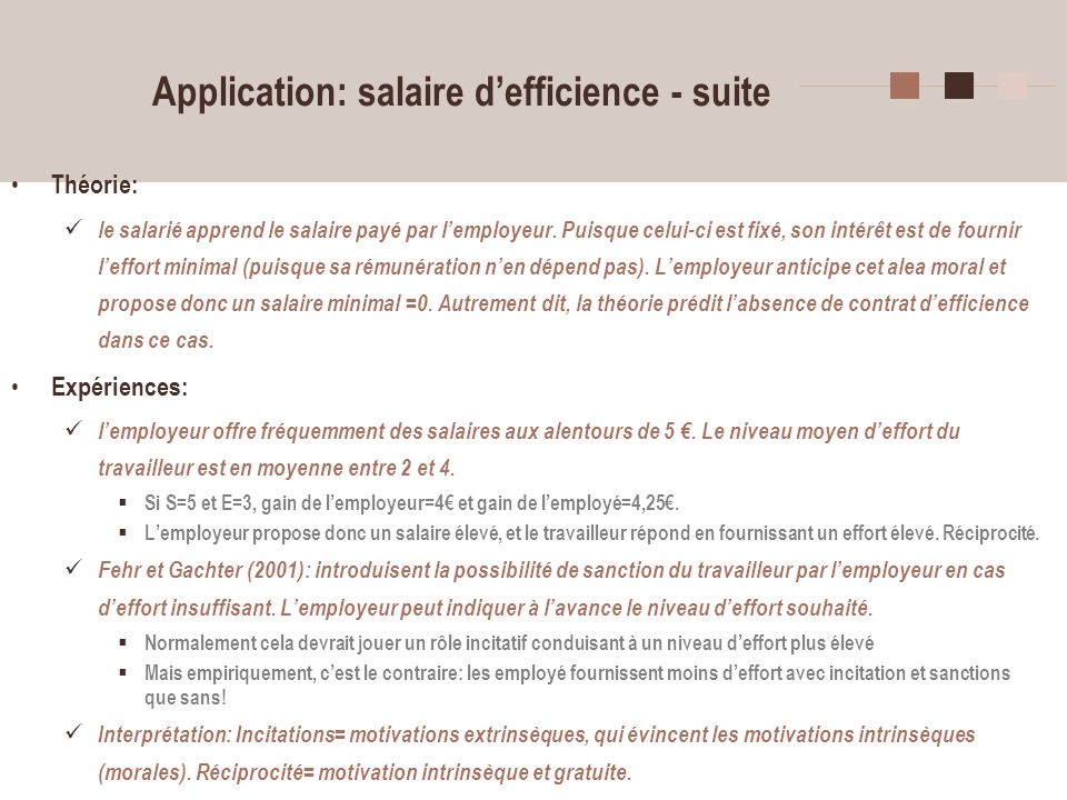 Application: salaire d'efficience - suite