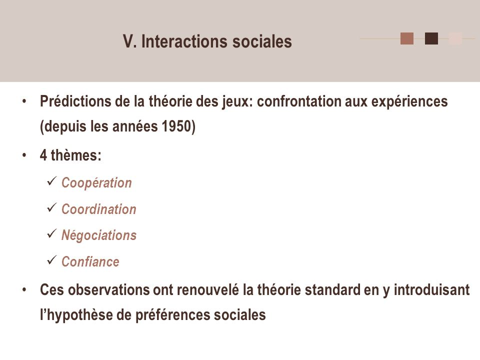 V. Interactions sociales